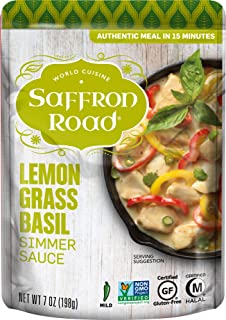 product image for Saffron Road Simmer Sauce Lemongrass Basil, 7 Ounce (Pack of 8) - Non-GMO, Gluten-Free, Halal, Kosher, Vegan,