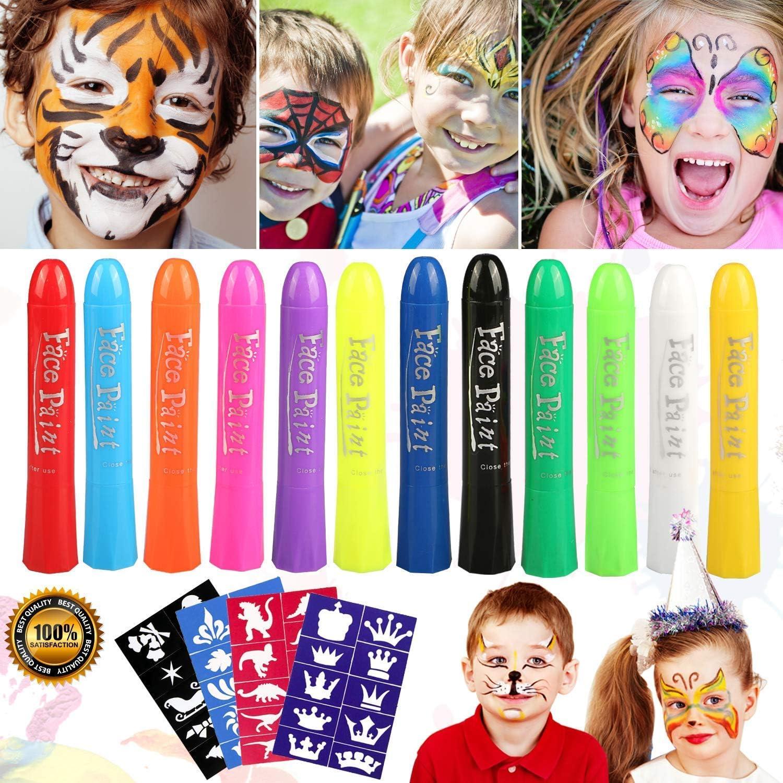 Pascua de Resurrección Pintura Facial,Buluri 12 Colores Face Paint Crayons Conjuntos de Pintura Corporal Faciales Seguros y no Tóxicos con 40 Plantillas, Carnaval,Santa, Cosplay, Fiestas