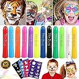 Buluri Face Paint per Bambini, 12 Pennarelli per Colorare La Faccia Body Painting Kit per Bambini Sicuro e Non Tossico con 40 Stampini,Perfetto per Carnevale,Pasqua, Natale, Cosplay