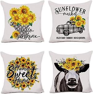Hexagram Rustic Sunflowers Pillow Covers 18