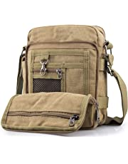 SPAHER Men Canvas Hiking Backpack Large Unisex Laptop Business School Satchel Holdall Weekend Travel Overnight Outdoor Shoulder Casual Bag Khaki