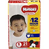 HUGGIES Snug & Dry Diapers, Size 6, 21 Count, JUMBO (Packaging May Vary)