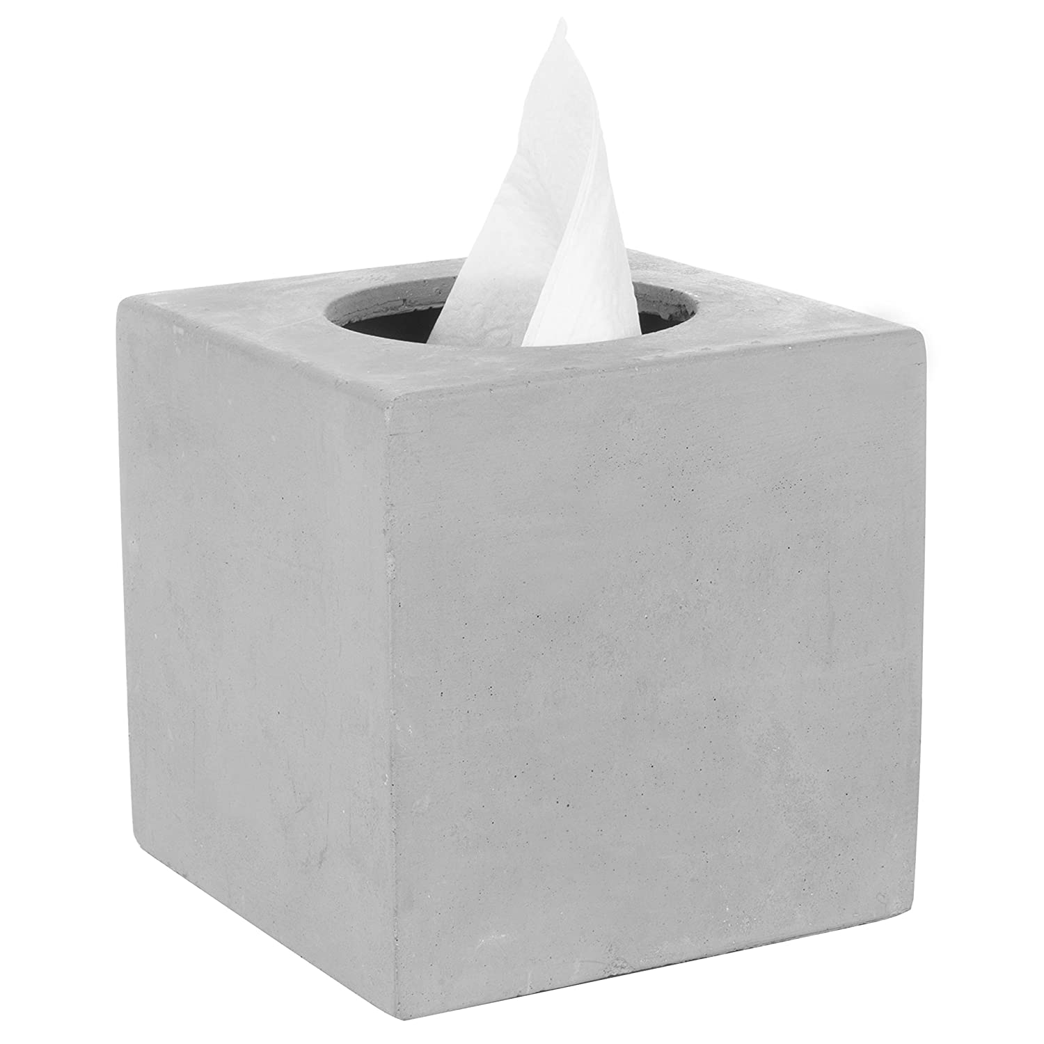 MyGift Modern Square Cement Tissue Box Holder with Open Bottom