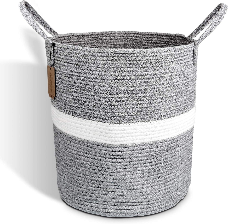 HEYPORK Laundry Hamper Woven Cotton Rope Large Clothes Hamper 18