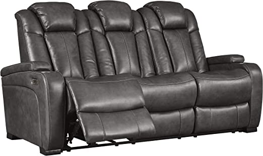 Signature Design By Ashley Turbulance Power Reclining Sofa With Adjustable Headrest Quarry