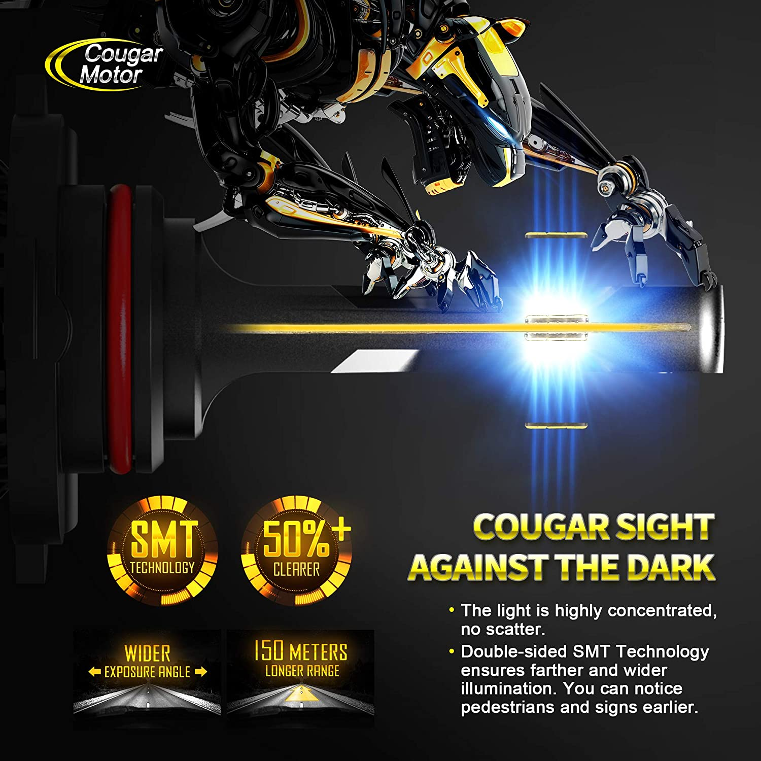 10000Lm 6500K Cool White CREE All-in-One Conversion Kit Cougar Motor X-Small 9005 LED Headlight Bulb HB3