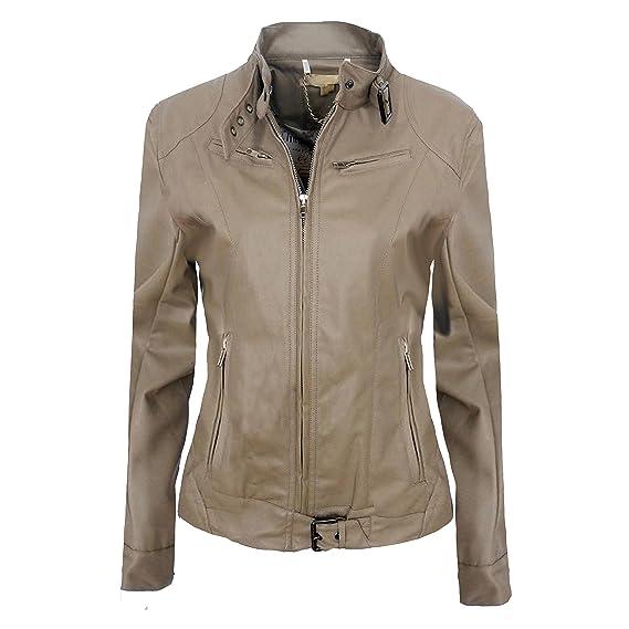 Ladies Biker chaqueta de piel sintética para mujer PVC BOMBER abrigos 4 bolsillos 4 colores: Amazon.es: Ropa y accesorios
