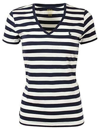 a29e9b6a74a RALPH LAUREN Polo Women s Long Sleeve Striped V-Neck T-Shirt at Amazon  Women s Clothing store