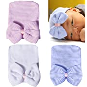 Darller 3 Packs Newborn Hospital Hat Girl Nursery Beanie Cap Baby Infant Hat with Cute Bow