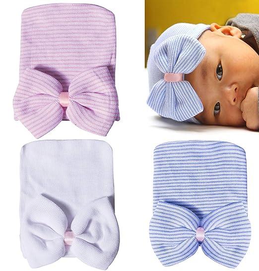 846e12f63061 Amazon.com  Darller 3 Packs Newborn Hospital Hat Girl Nursery Beanie ...