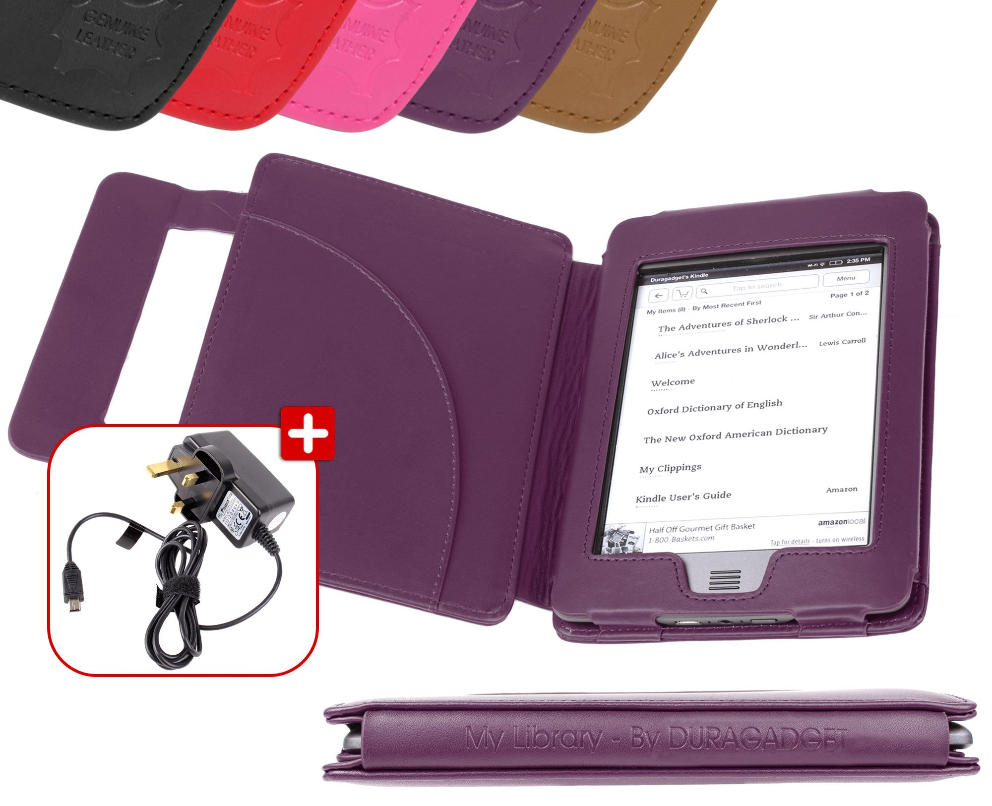 DURAGADGET Purple Genuine Leather Book Style Cover Case With Magnetic Clasp For Amazon's New Kindle Touch & Touch 3G, Wi-Fi, 6'' Display (Latest Generation, November 2011) + USB Mains Charger