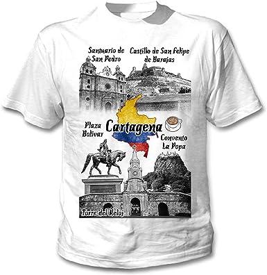 teesquare1st Colombia Cartagena Camiseta Blanca para Hombre de ...