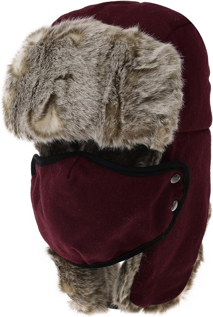 Ushanka Women/'s fur trapper hat with Tweed English style recycled raccoon fur CA45 winter aviator cap