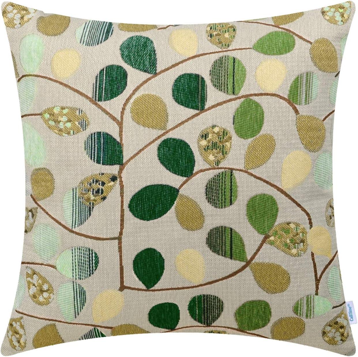 CaliTime Cushion Cover Pillow Case Luxury Chenille Leaves Car Sofa Decor 50x50cm
