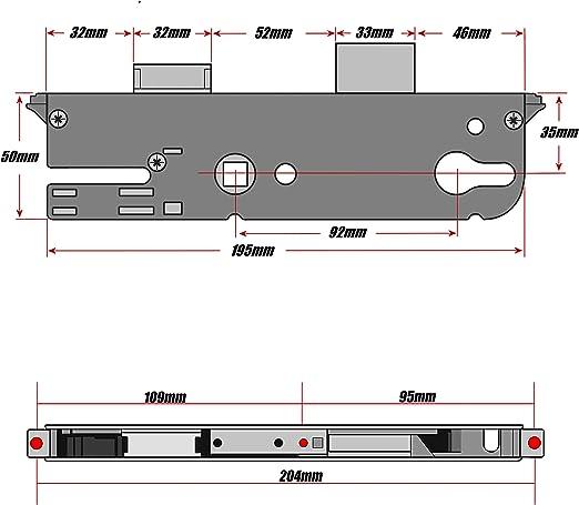 Nouveau Style porte GU Mécanisme de serrure 35/92 Axe simple New Style-GU serrure: Amazon.es: Bricolaje y herramientas