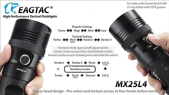 Eagletac MX25L4 Flashlight SBT-90 w//4x 3400mAh Batteries /& D4 Charger