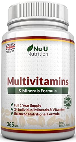 Multivitamins & Minerals Formula - 365 Tablets (Up to 1 Year Supply) – 24 Multivitamins with Iron and Minerals for Men and Women, Multivitamin Tablets Suitable for Vegetarians by Nu U Nutrition
