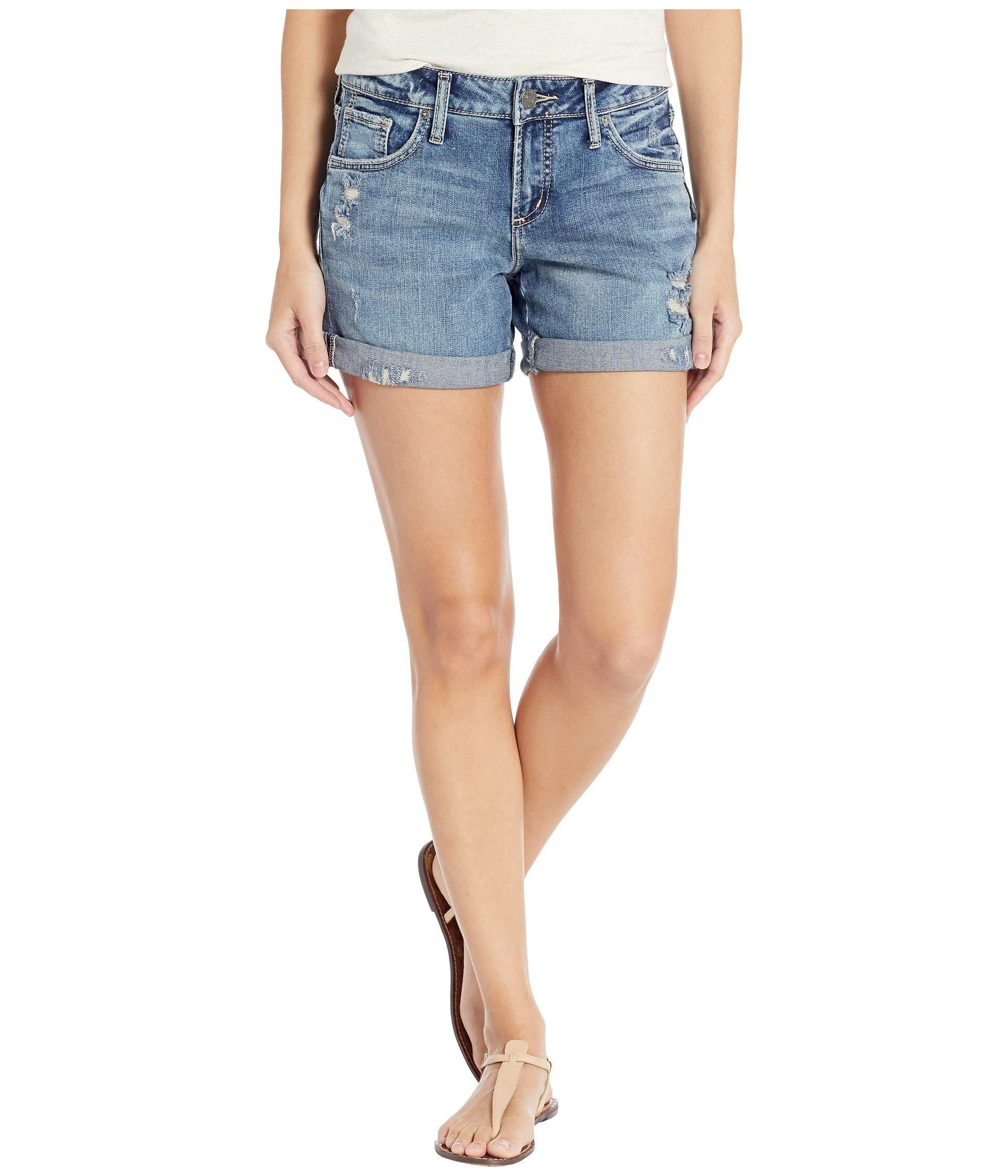 Silver Jeans Co. Women's Mid Rise Boyfriend Shorts, Medium Low Stretch, 29W x 4.5L by Silver Jeans Co.