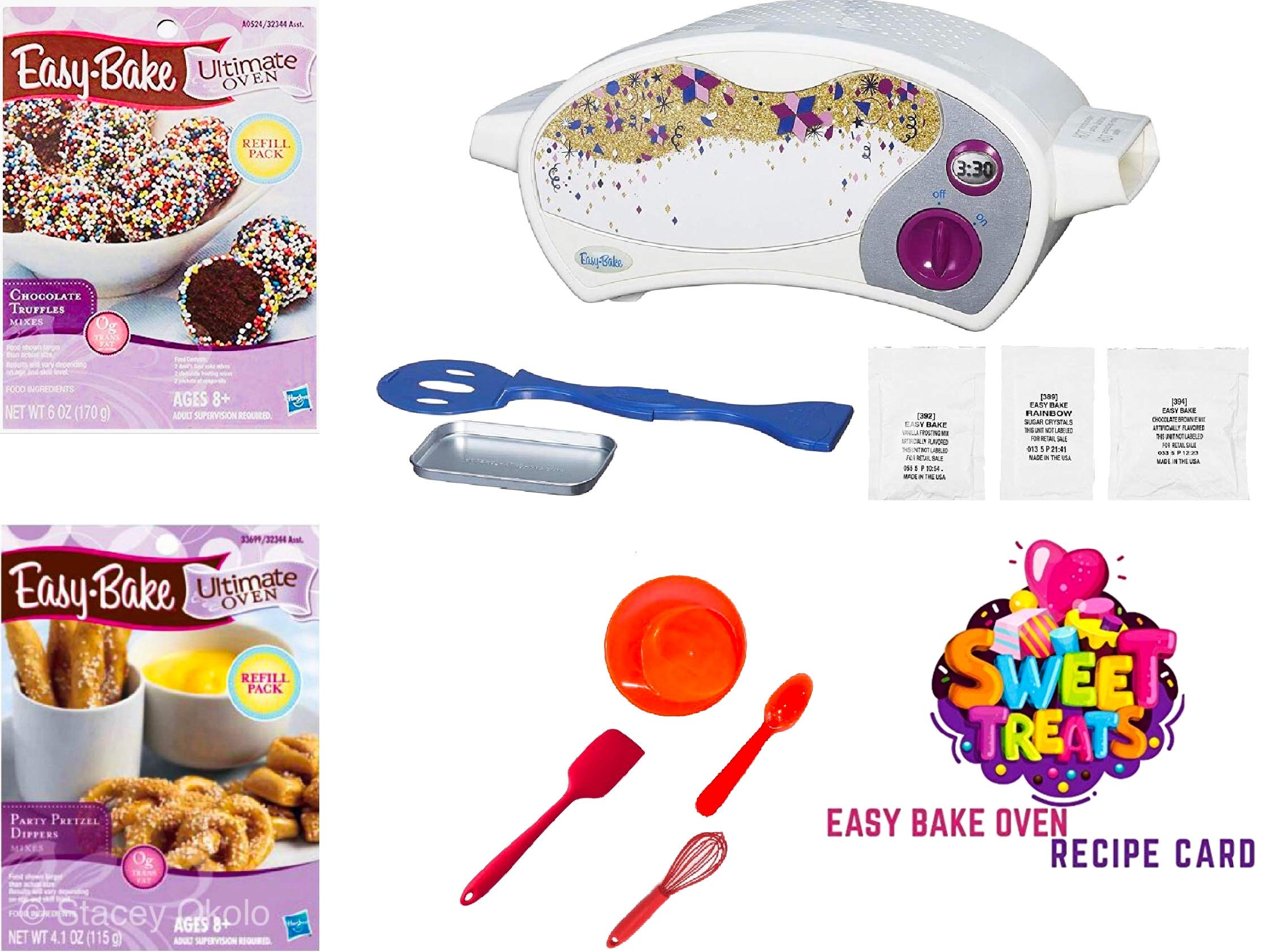 Easy Bake Ultimate Oven Baking Star Edition + 2 Oven Refill Mixes + 2 Sweet Treats Tasty Oven Recipes + Mixing Bowl, Spoon, Spatula, Whisk (8 Total Items) (red)