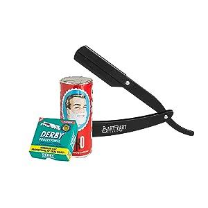 bartzart Barba Cuidado Juego 6 – Navaja de afeitar, cuchillas de afeitar Derby y jabón de afeitar Arko