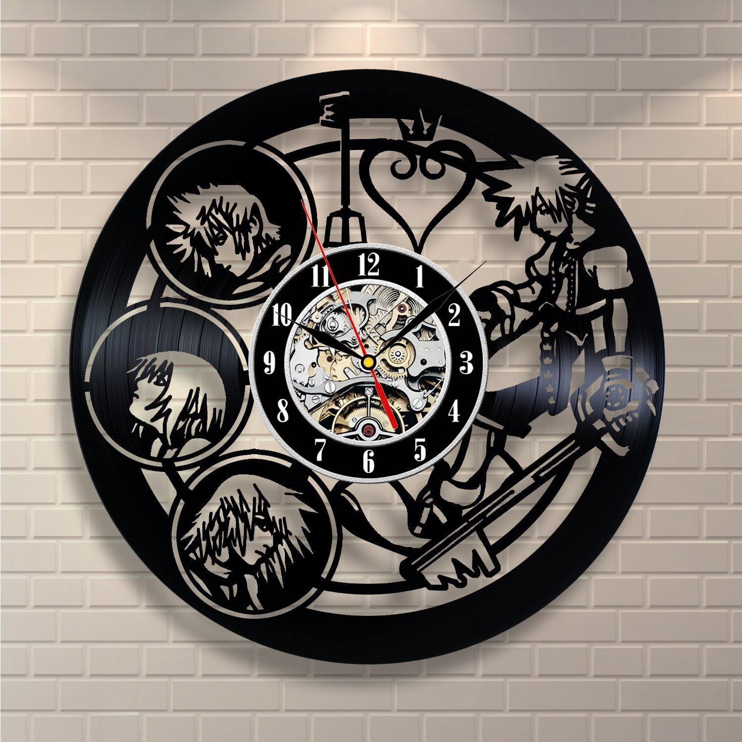 Shop amazon wall clocks kingdom hearts anime vinyl record design wall clock decorate your home with modern kingdom hearts amipublicfo Images