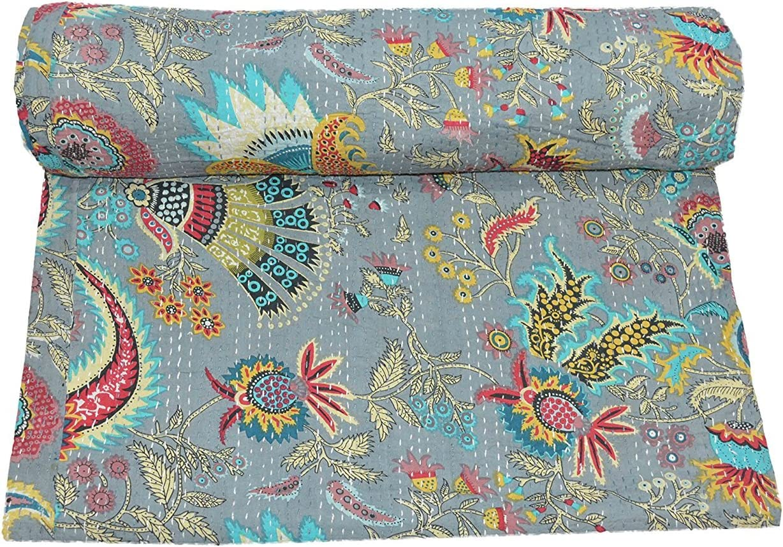QUEEN Kantha bedspread Kantha Blanket Bohemian Bedding Kantha Size 90 Inch x 108 Inch By SUNITA ENTERPRISES SUNITA ENTERPRISES Multicolor Turquoise Paisley Print QUEEN Size Kantha Quilt Bed Cover