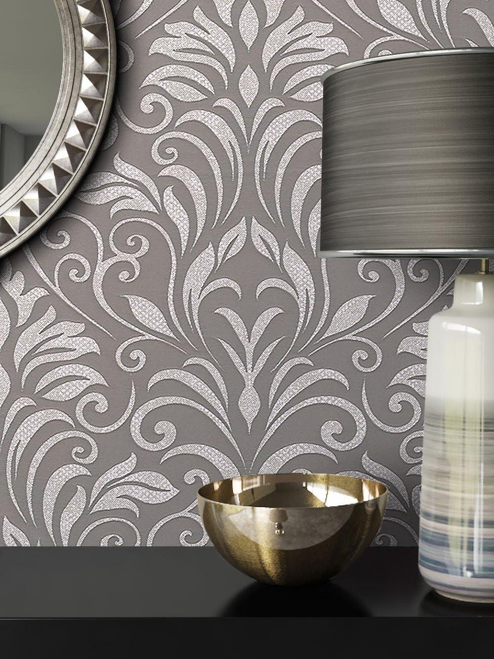 aspect Design /él/égant avec guide /à tapisser Classique Belle moderne et baroque newroom Papier peint style baroque Gris Papier peint intiss/é Anthracite Noir