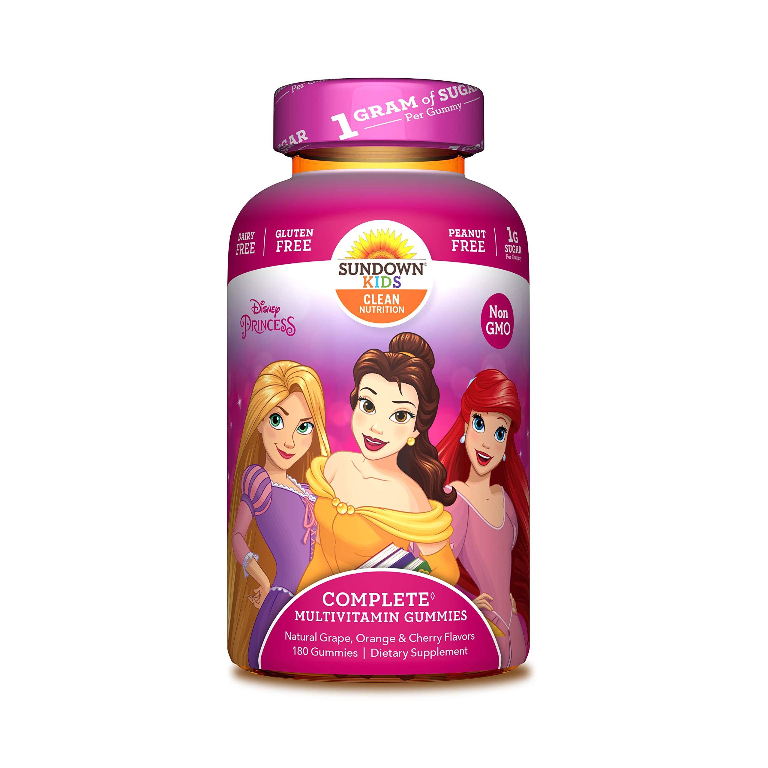Sundown Kids Disney Princess Multivitamin Gummies, Vitamins A, C, D, E, Gluten-Free, Dairy-Free, Peanut-Free, 180 Count