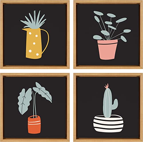 Kate and Laurel Sylvie Potted Plant Set Framed Canvas Wall Art