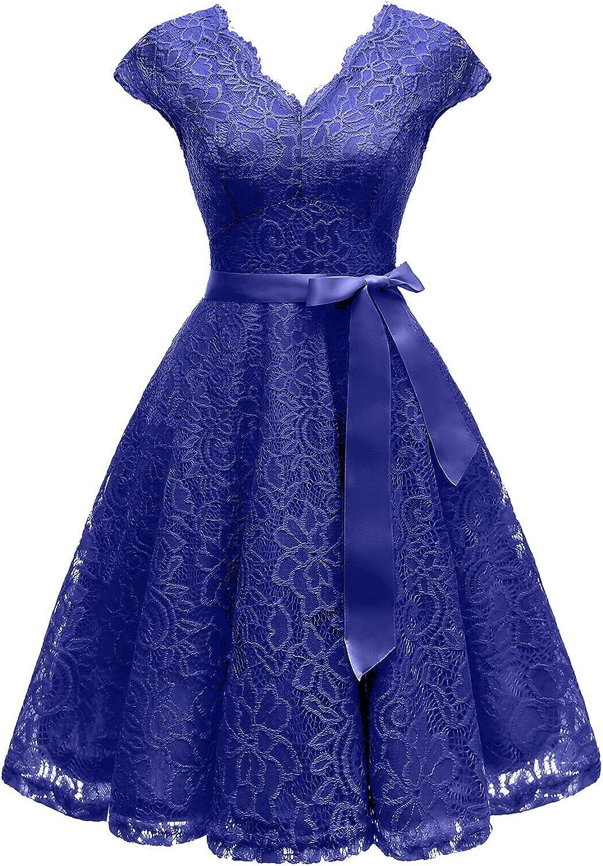 Vinvv Womens Short Vintage Floral Lace Dress V-Neck Cap Sleeve Belt Bridesmaid Party Cocktail Dress Homecoming Dress RS90035