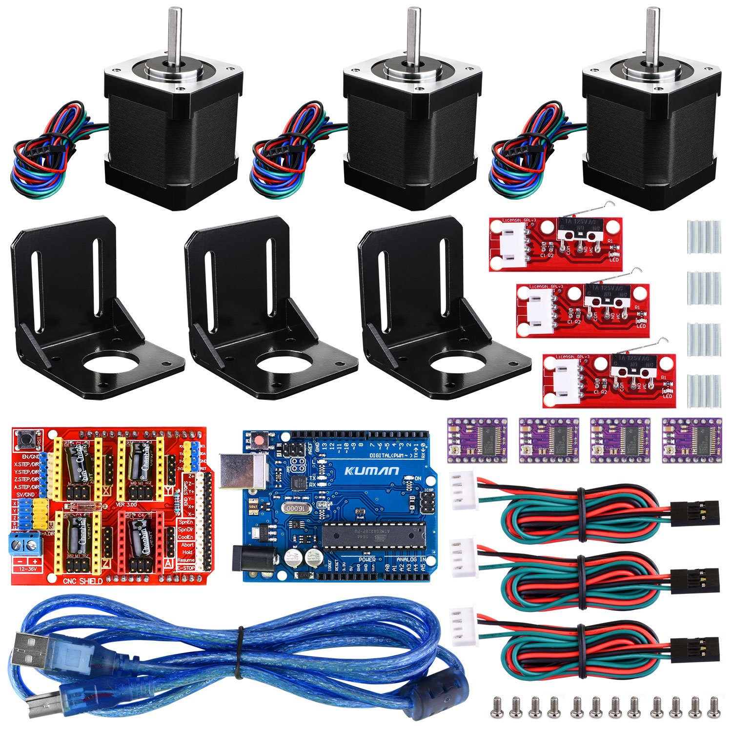 GRBL CNC Shield Professional 3D Printer CNC Kit UNO R3 Board+RAMPS 1.4 Mechanical Switch Endstop+DRV8825 GRBL Stepper Motor Driver+Nema 17 Stepper Motor