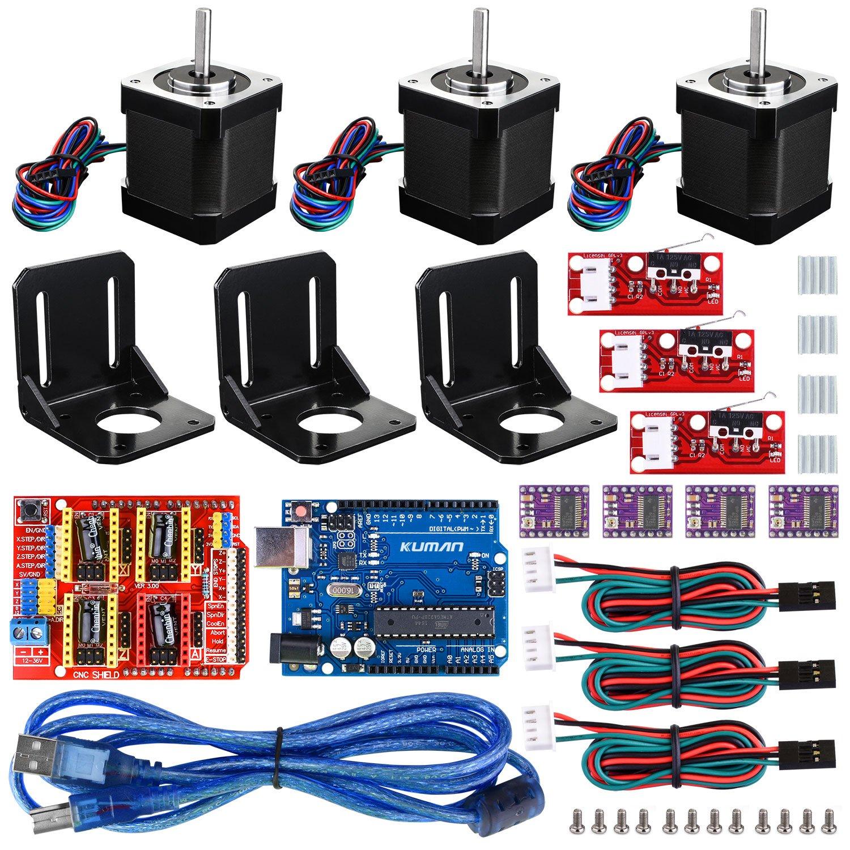 Professional CNC Kit for arduino, kuman GRBL CNC Shield +UNO R3 Board + RAMPS 1.4 Mechanical Switch Endstop + DRV8825 A4988 GRBL Stepper Motor Driver with Heat Sink + Nema 17 Stepper Motor