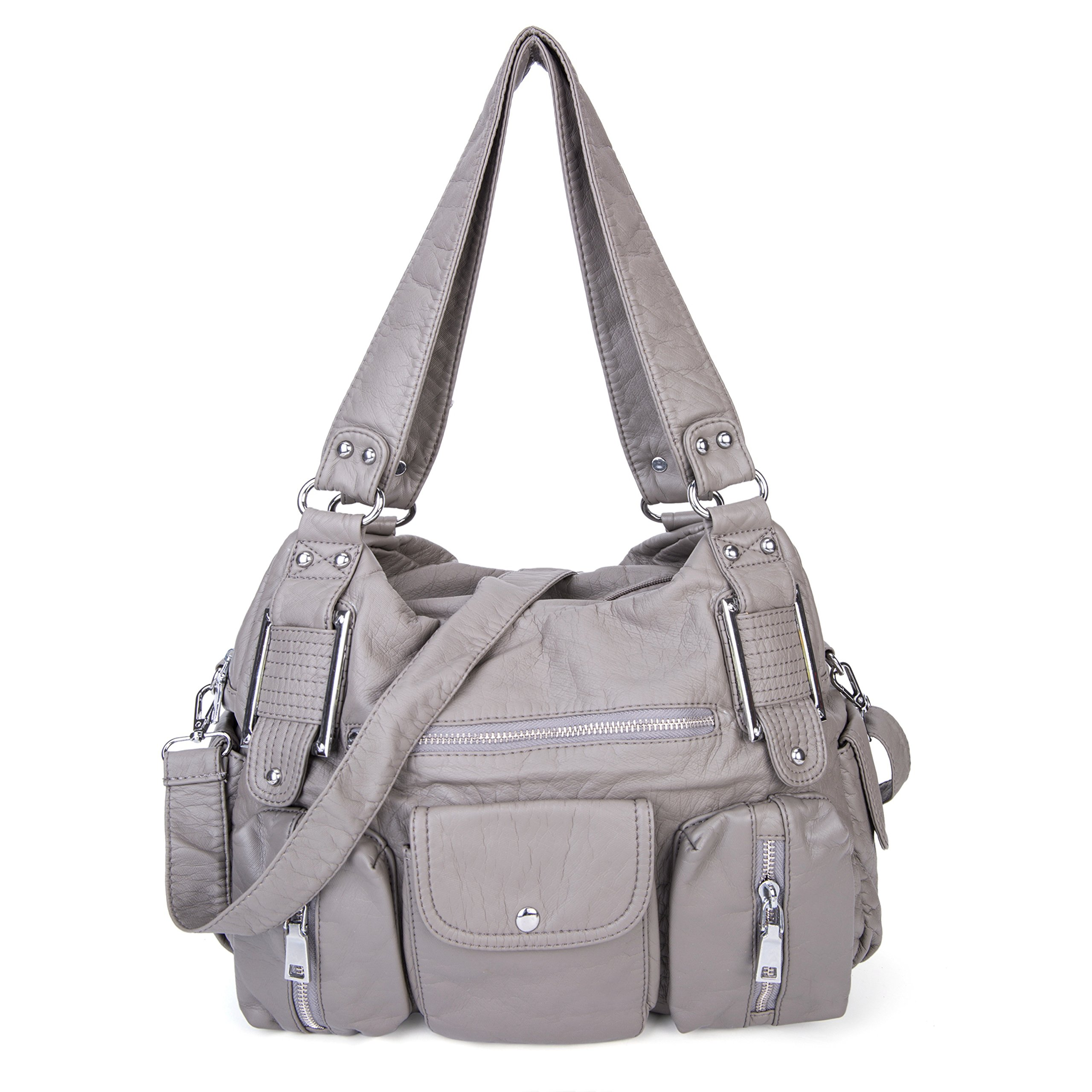 Shoulder Bag Purse Soft Large Capacity Tote Bag Washed PU Leather Cross Body Handbag for Women Gray