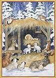 Entertaining with Caspari Woodland Creche Christmas Cards (Box of 16), Blue