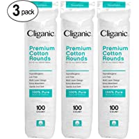 Cliganic Premium Cotton Rounds for Face (300 Count) | Makeup Remover Pads, Hypoallergenic, Lint-Free | 100% Pure Cotton