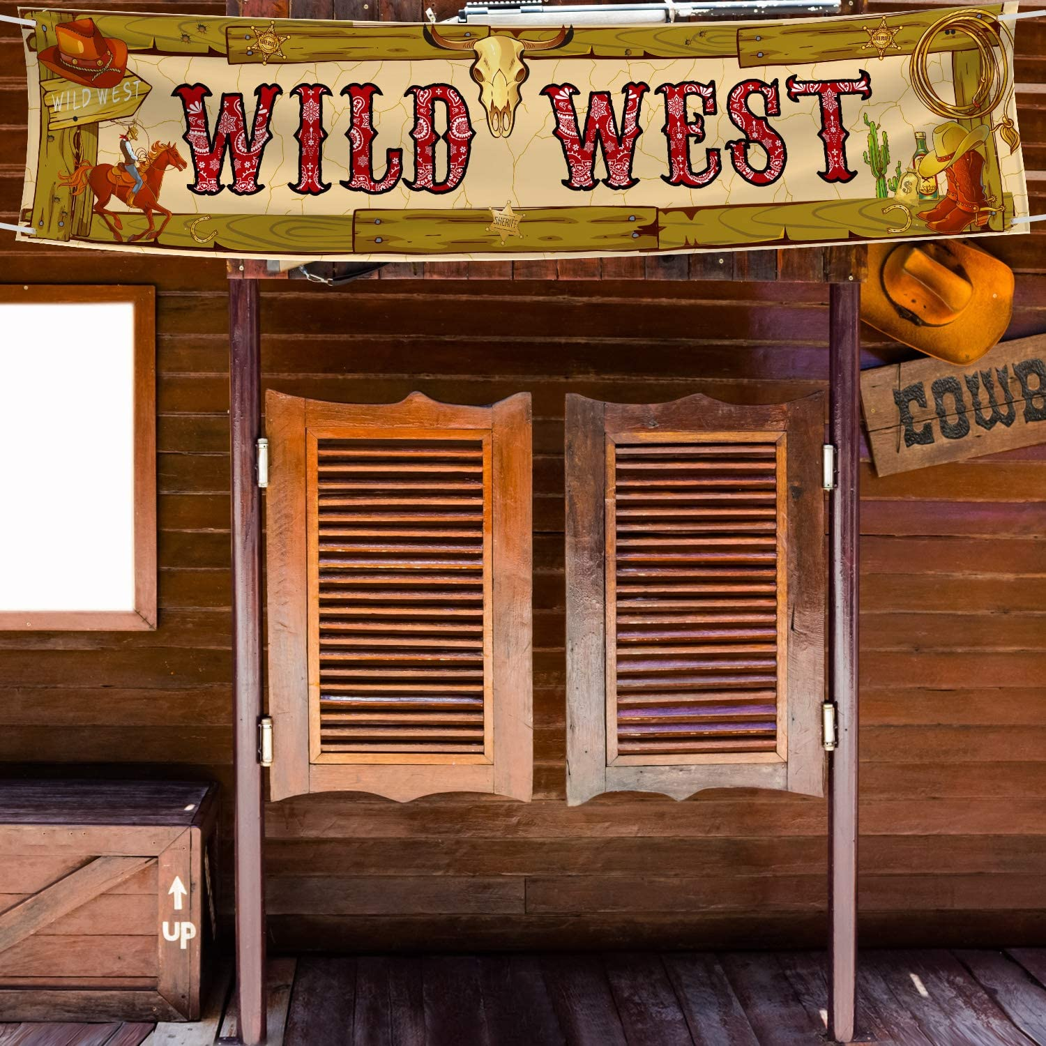 Cowboy Party Decorations Cowboy Banner Western Scene Setters for Cowboy Decorations Party Wooden House Barn Banner Western Party Supplies Wild West Backdrop Background 15.7 x 72 Inch