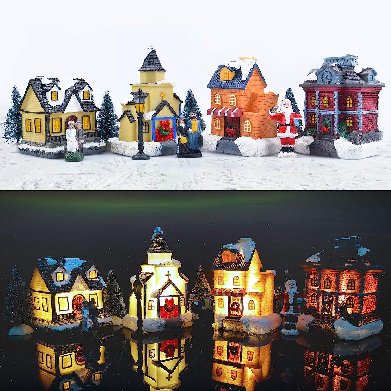 Retro LED Wooden Church /& House Ornaments Christmas Village Scene Light Up Decor