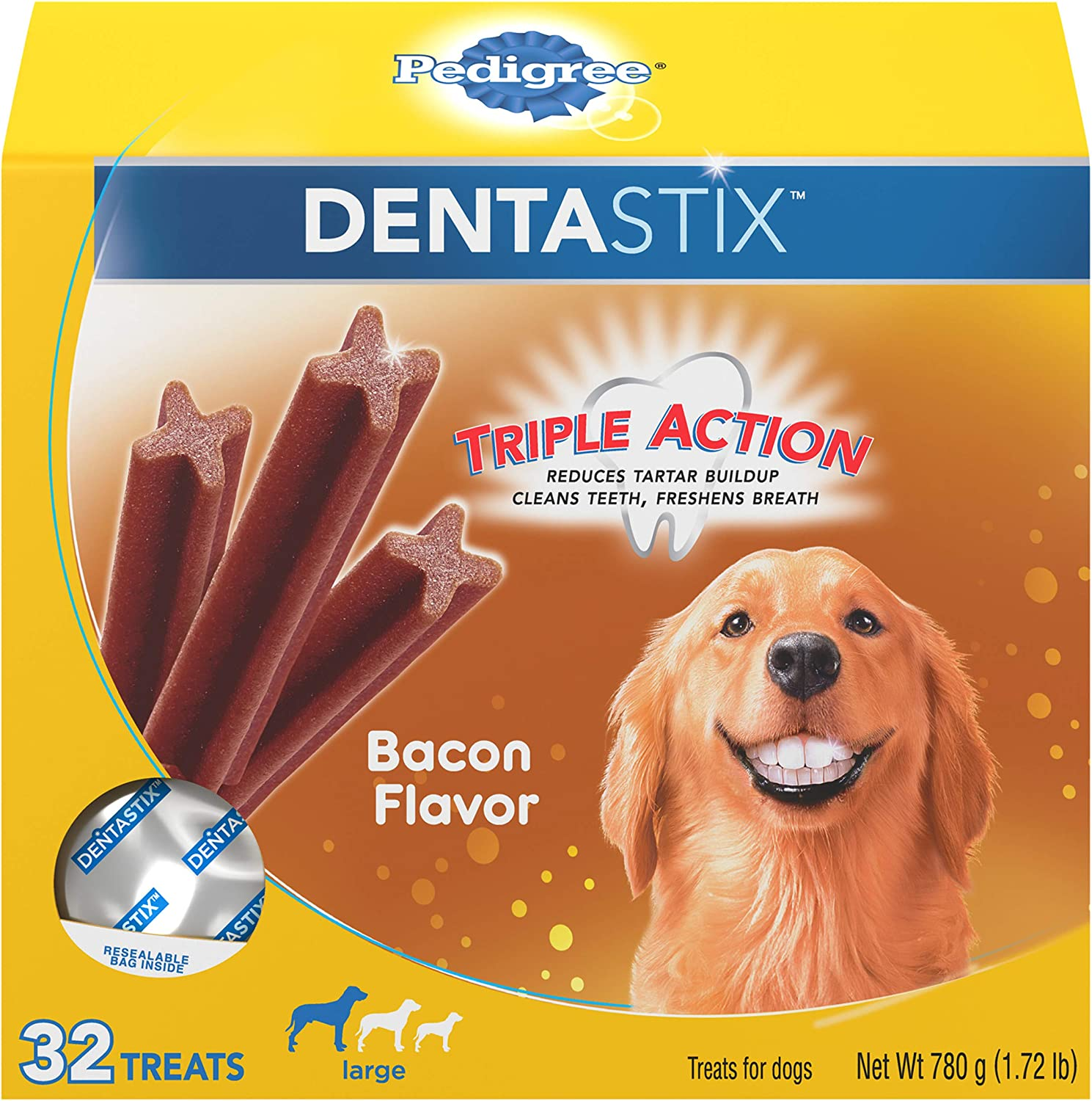 Bacon, Pack of 32 PEDIGREE DENTASTIX Large Dog Chew Treats Reduces Plaque and Tartar Buildup