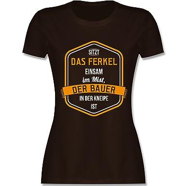 Landwirt - Bauernweisheit Ferkel - S - Braun - L191 - Damen T-Shirt Rundhals