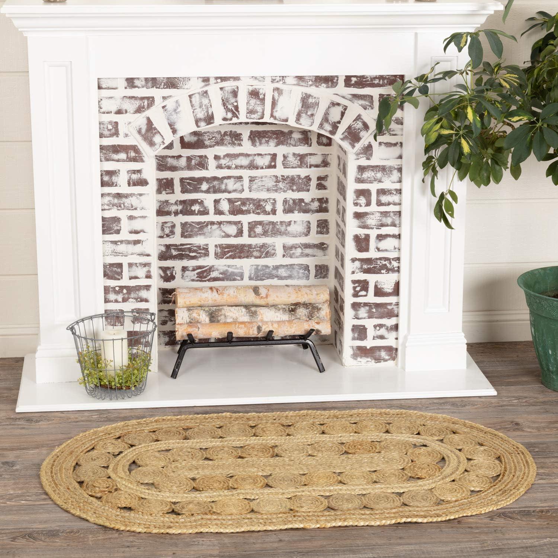 Amazon Com Coastal Farmhouse Flooring Celeste Tan Oval Jute Rug 2 3 X 4 Furniture Decor