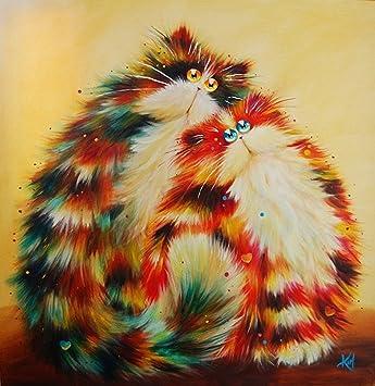 YEESAM Art nuevo 5d Diamond Kit de Pintura - amarillo gatos persa - DIY cristales diamantes de imitación pintura pegado pintura por número kits de punto de ...