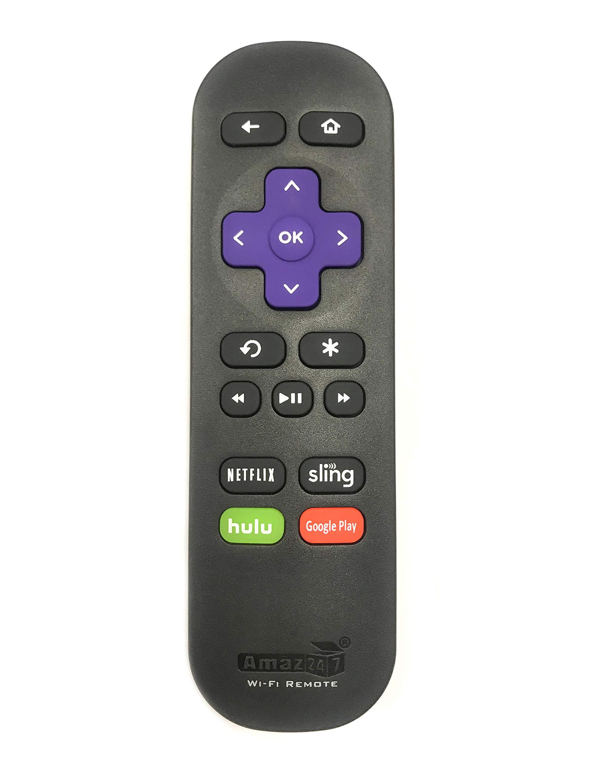 Amaz247 Wi-Fi Remote for Roku Streaming Stick (3500r, 3500rw, 3600, 3800, 3810), Roku 3 (4200r), Roku 2 (2720r),Roku Ultra, Roku Premiere, Roku Express (3900X), Roku Express+ by AMAZ247