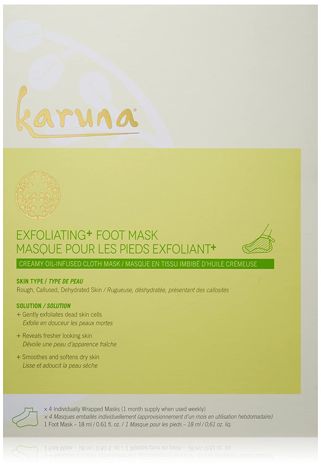Exfoliating Foot Mask for Rough, Callused, Dehydrated Skin Karuna