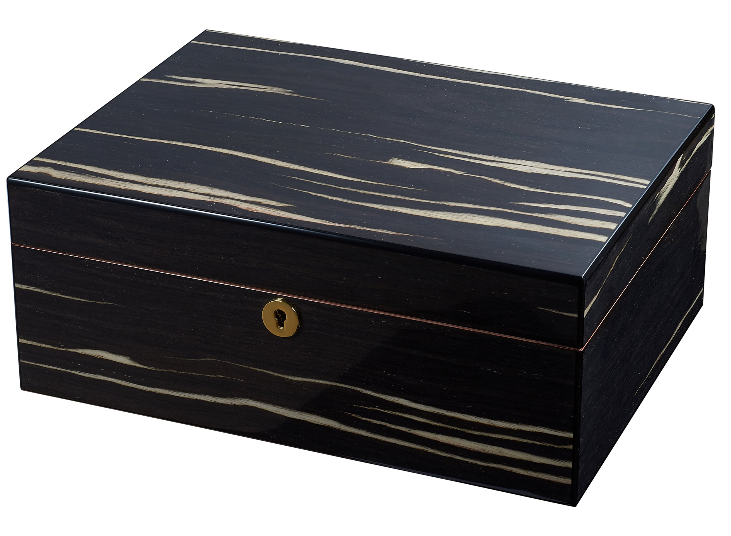 Visol Remo Polished Ashburl Wood Locking Humidor