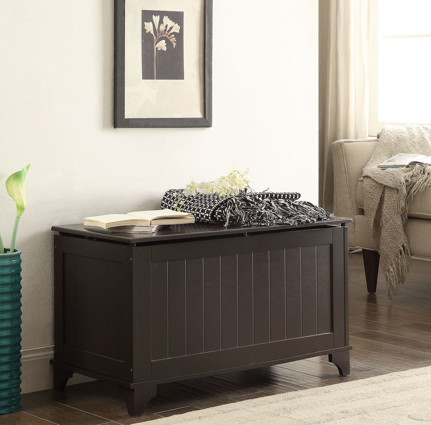 Espresso Finish Toy Blanket Storage Chest Trunk Box Bench eHomeProducts NT-20606