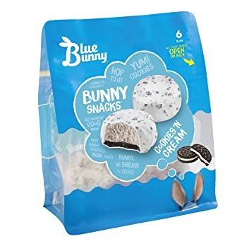Blue Bunny Bunny Snacks Cookies N Cream Ice Cream 6 Ct Frozen