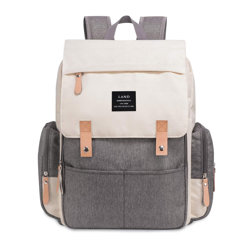 bolsa de hombro informal para maternidad Black And Grey Mochila para pa/ñales de Land con bolsillos aislados correa para cochecito cambiador