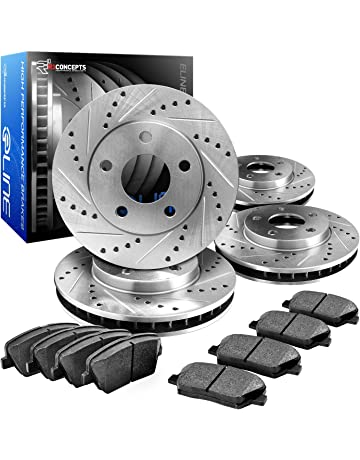 R1 Concepts CEDS10678 Eline Series Cross-Drilled Slotted Rotors And Ceramic Pads Kit - Front