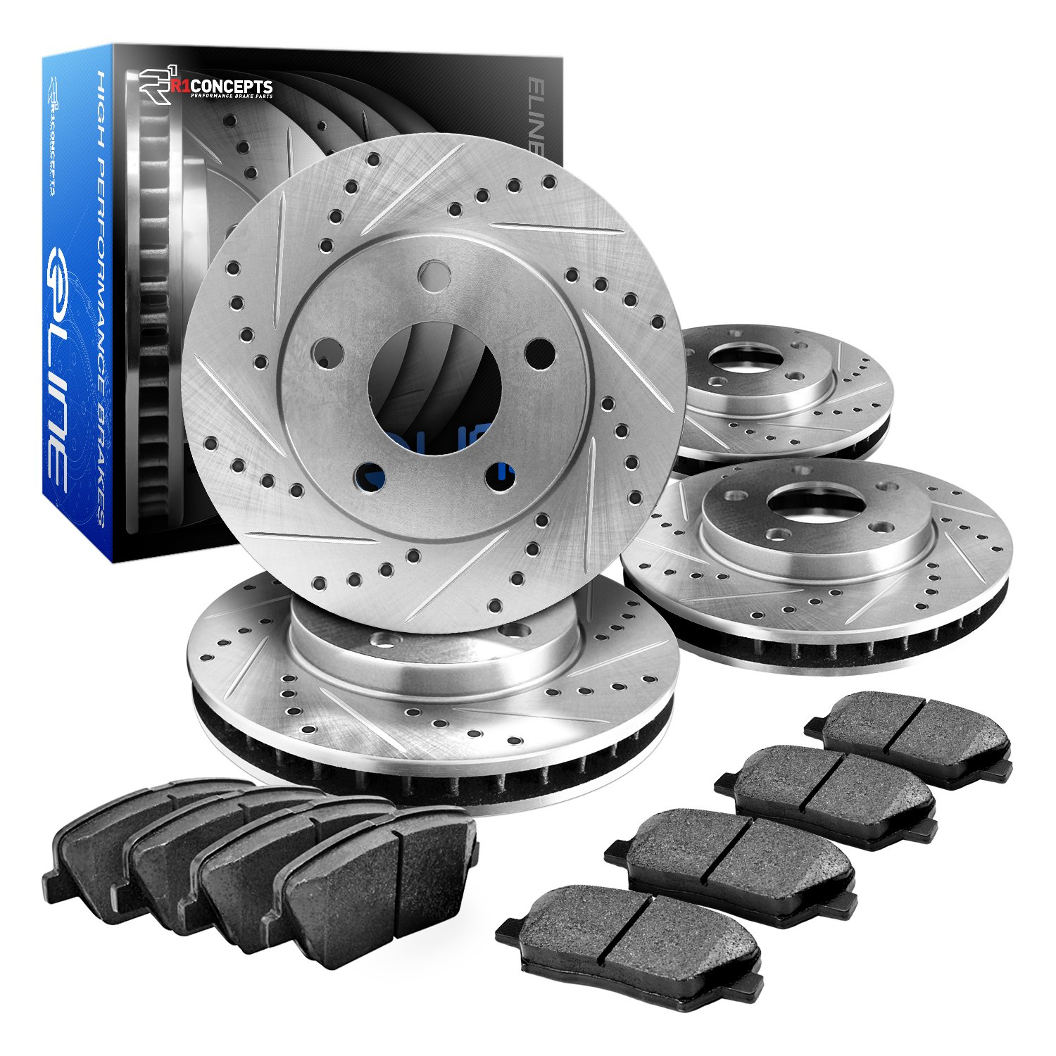 R1 Concepts CEDS10678 Eline Series Cross-Drilled Slotted Rotors And Ceramic Pads Kit - Front and Rear