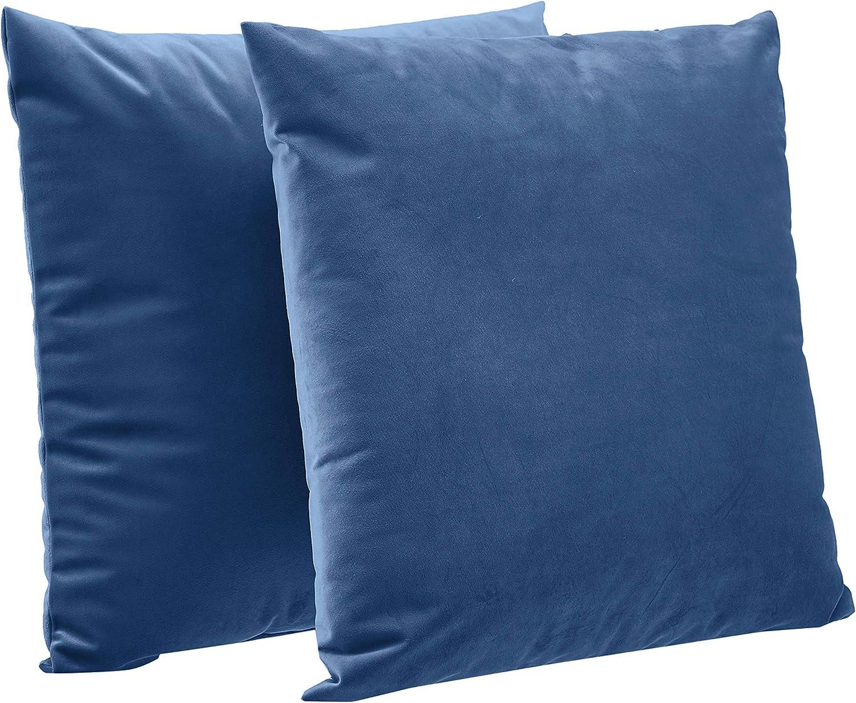 "AmazonBasics 2-Pack Velvet Fleece Decorative Throw Pillows - 18"" Square, Navy Blue"